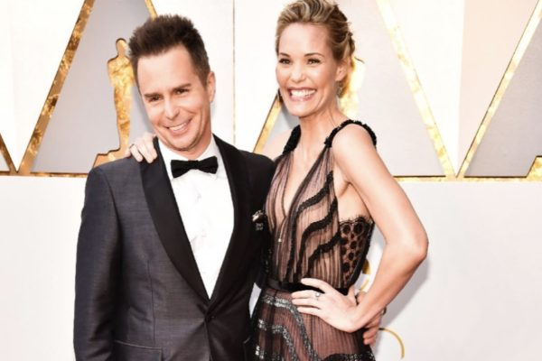 Leslie Bibb with husband Sam Rockwell.   Photo Credit:  Kevin Mazur/Getty Images